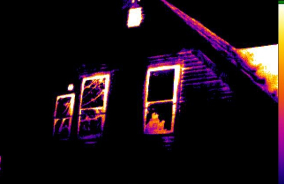 Image of a house using infrared thermography.