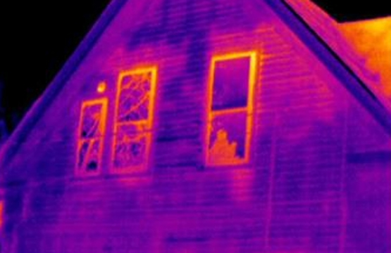 Thermal image during building inspection.